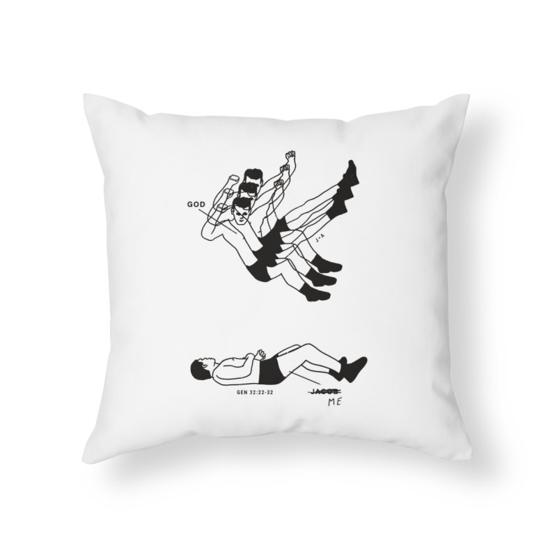 WRESTLING WITH GOD Home Throw Pillow by Jamus + Adriana