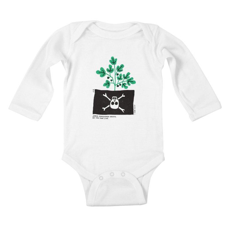 CONQUERED DEATH Kids Baby Longsleeve Bodysuit by Jamus + Adriana