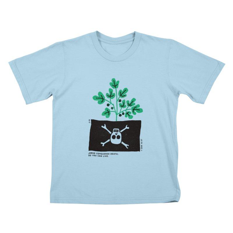 CONQUERED DEATH Kids T-Shirt by Jamus + Adriana