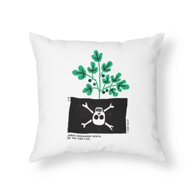 CONQUERED DEATH Home Throw Pillow by Jamus + Adriana