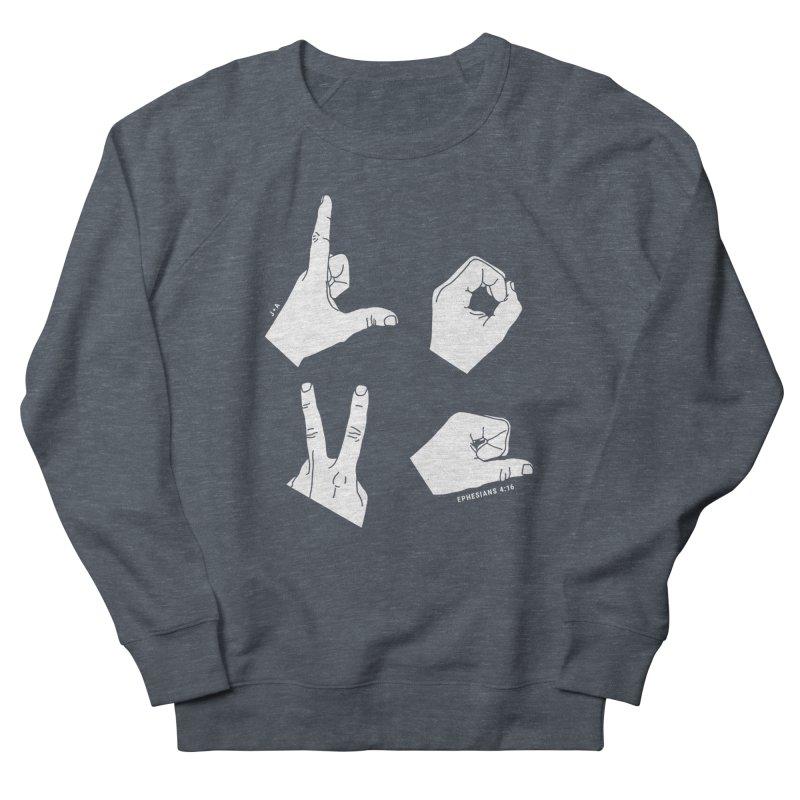 LOVE HANDS (WHITE) Women's Sweatshirt by Jamus + Adriana