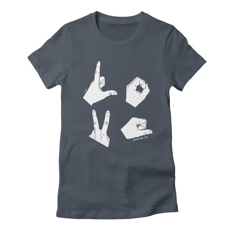 LOVE HANDS (WHITE) Women's T-Shirt by Jamus + Adriana