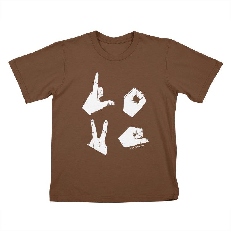 LOVE HANDS (WHITE) Kids T-Shirt by Jamus + Adriana