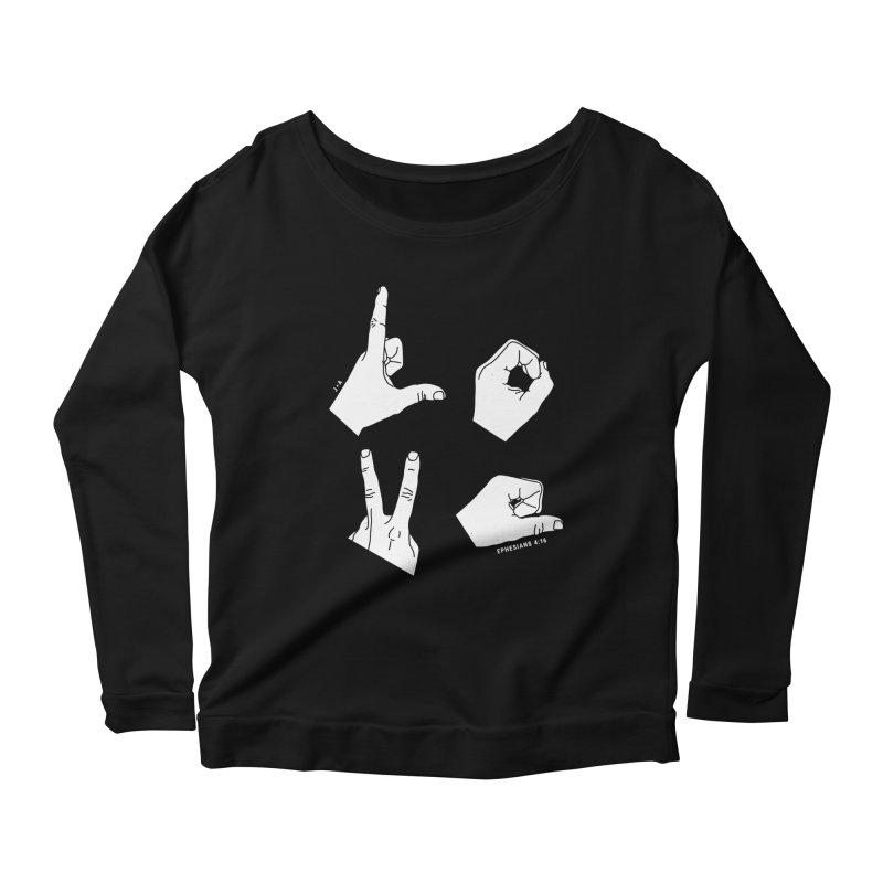 LOVE HANDS (WHITE) Women's Scoop Neck Longsleeve T-Shirt by Jamus + Adriana