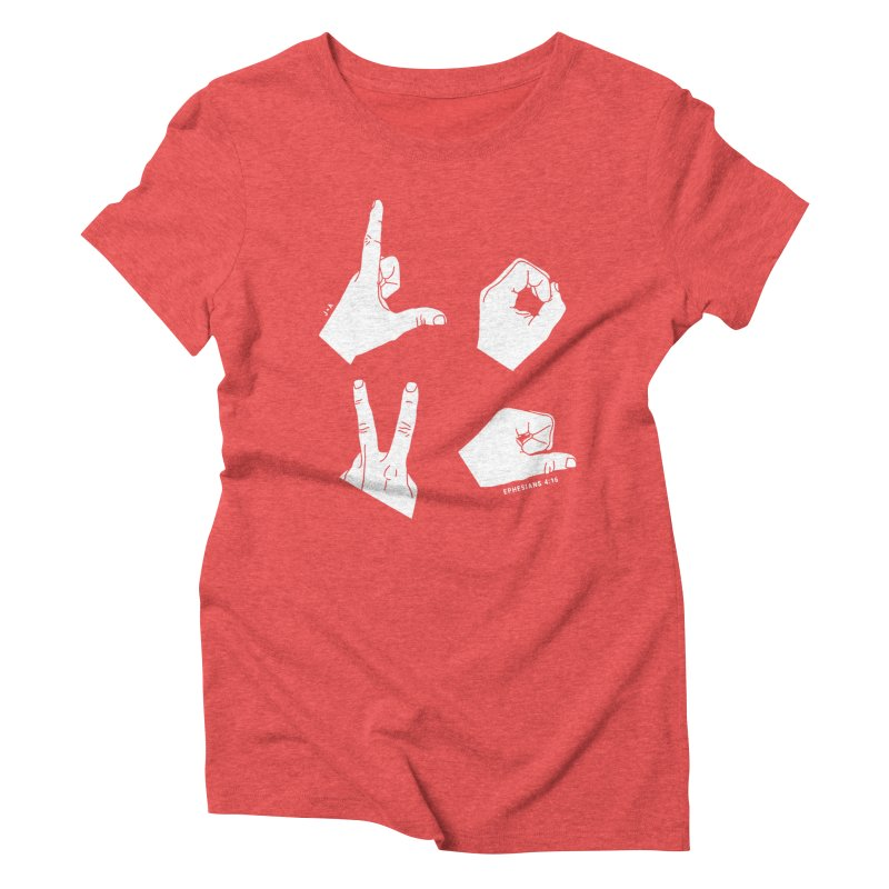 LOVE HANDS (WHITE) Women's Triblend T-Shirt by Jamus + Adriana