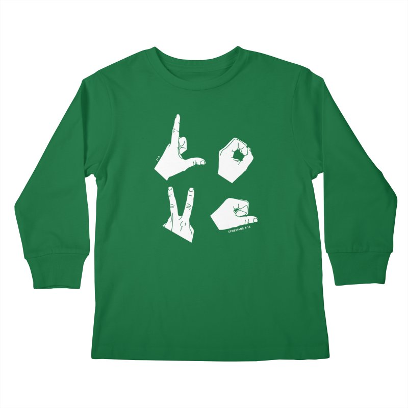 LOVE HANDS (WHITE) Kids Longsleeve T-Shirt by Jamus + Adriana