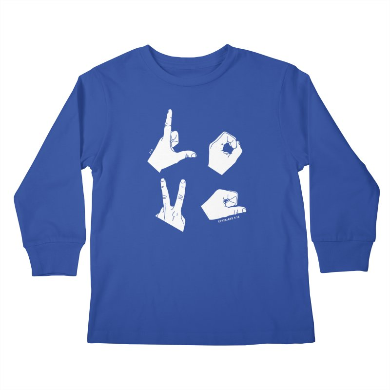 LOVE HANDS (WHITE) in Kids Longsleeve T-Shirt Royal Blue by Jamus + Adriana