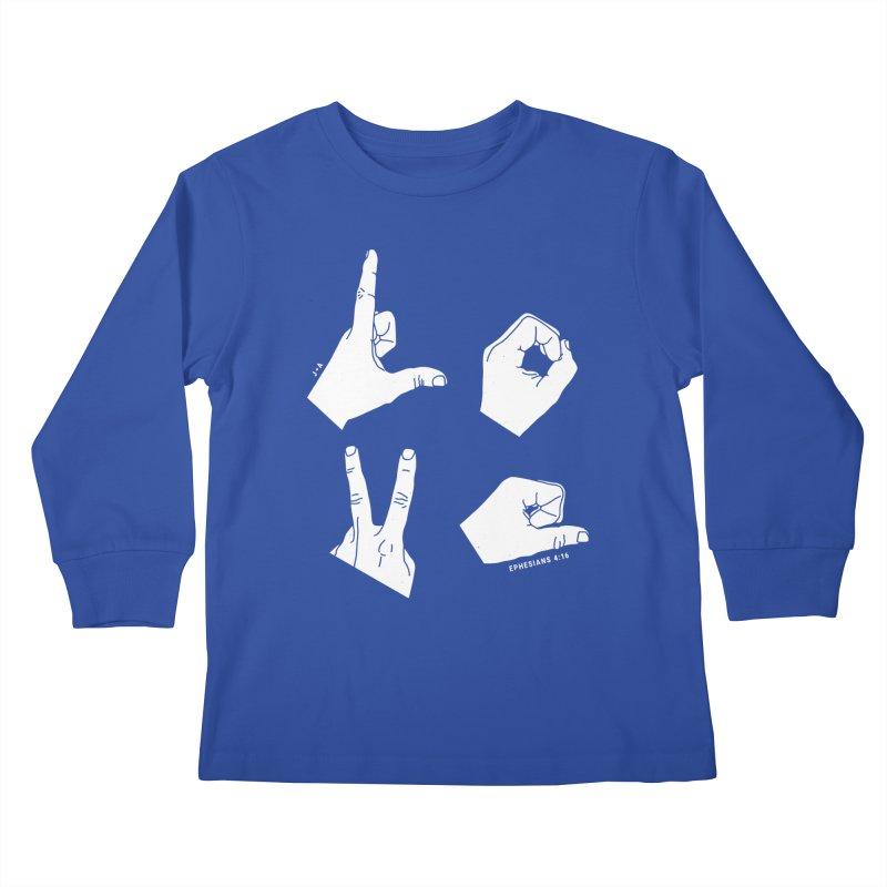 LOVE HANDS (WHITE) Kids Longsleeve T-Shirt by Jamus + Adriana