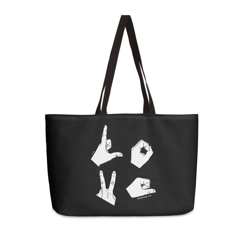 LOVE HANDS (WHITE) Accessories Weekender Bag Bag by Jamus + Adriana