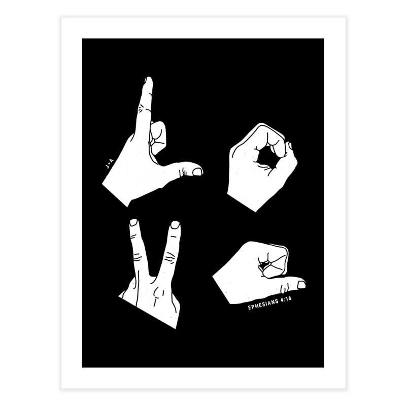 LOVE HANDS (WHITE) Home Fine Art Print by Jamus + Adriana