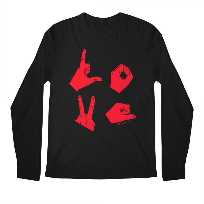 LOVE HANDS (RED) Men's Longsleeve T-Shirt by Jamus + Adriana