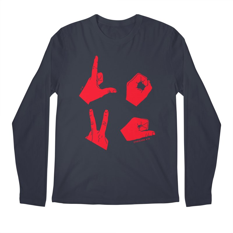 LOVE HANDS (RED) Men's Longsleeve T-Shirt by Jamus + Adriana