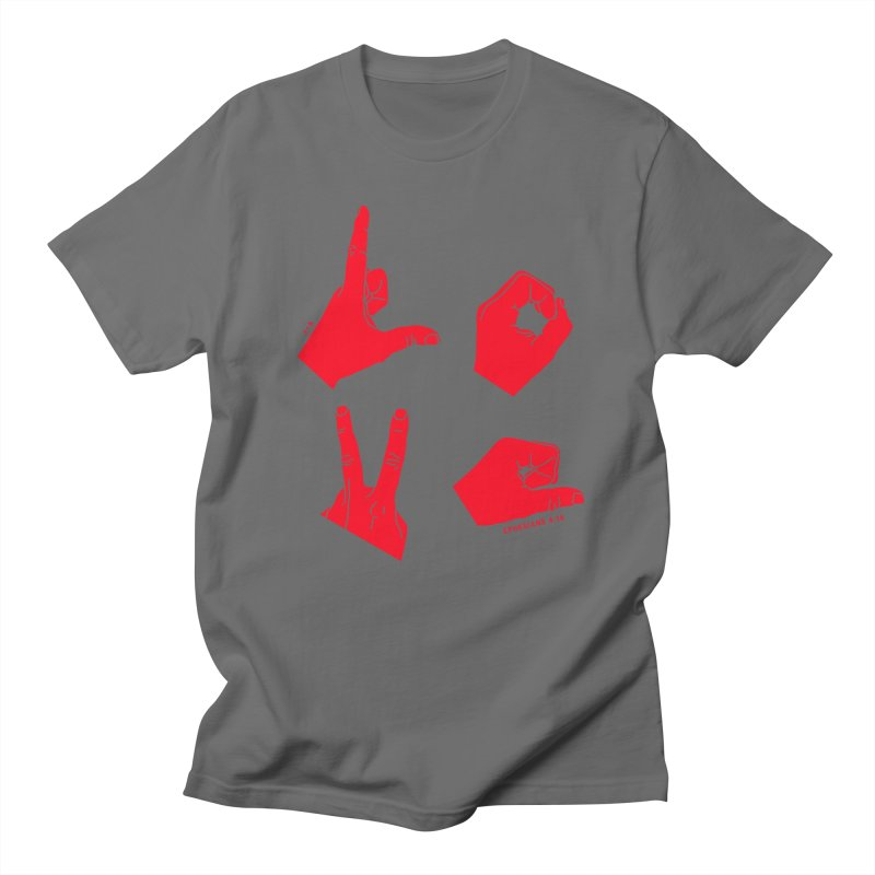 LOVE HANDS (RED) Men's T-Shirt by Jamus + Adriana