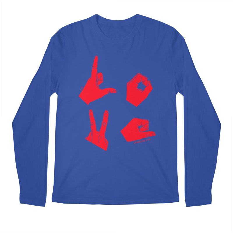 LOVE HANDS (RED) Men's Regular Longsleeve T-Shirt by Jamus + Adriana