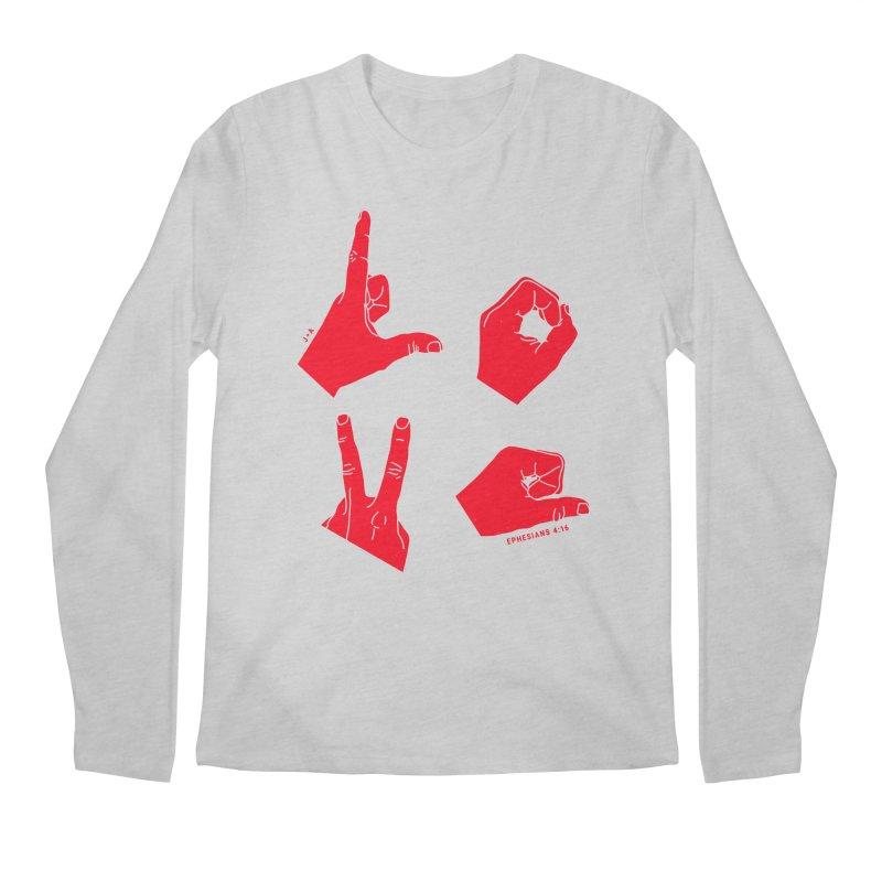 LOVE HANDS (RED) Men's Regular Longsleeve T-Shirt by Jamus + Adriana