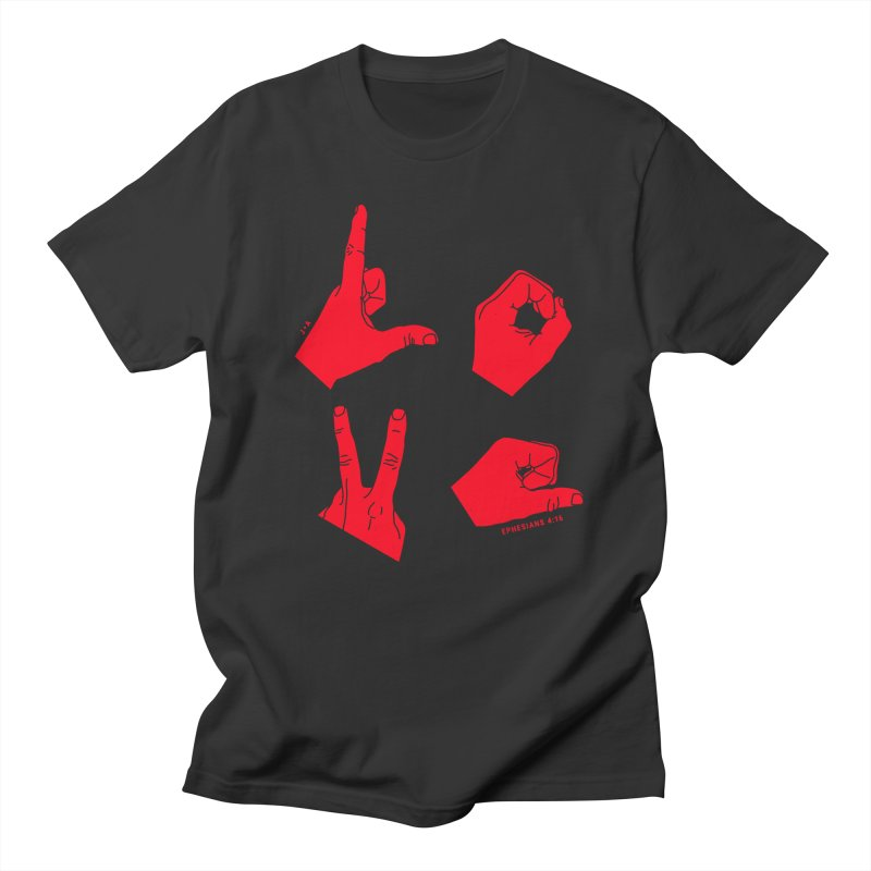LOVE HANDS (RED) Men's Regular T-Shirt by Jamus + Adriana