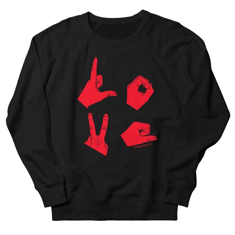 LOVE HANDS (RED) Women's French Terry Sweatshirt by Jamus + Adriana