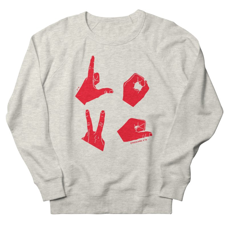 LOVE HANDS (RED) Women's French Terry Sweatshirt by Jamus + Adriana