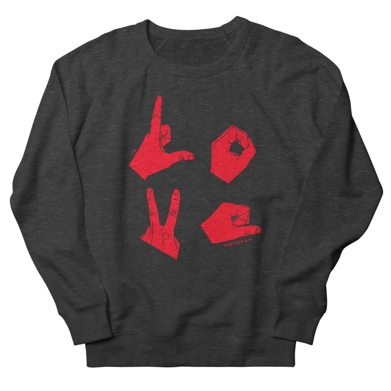 LOVE HANDS (RED) Men's French Terry Sweatshirt by Jamus + Adriana
