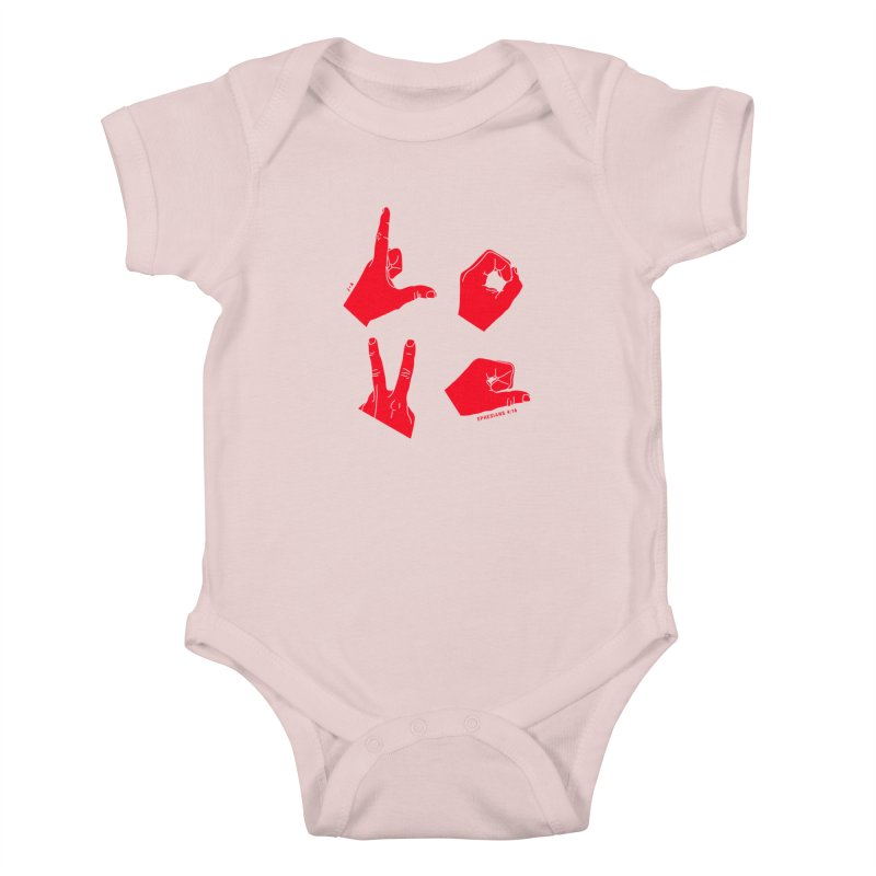LOVE HANDS (RED) Kids Baby Bodysuit by Jamus + Adriana