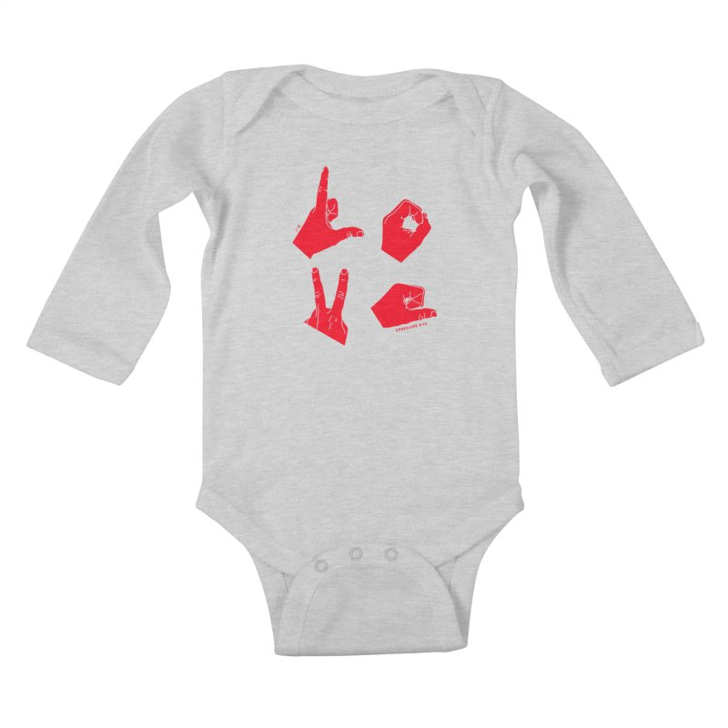 LOVE HANDS (RED) Kids Baby Longsleeve Bodysuit by Jamus + Adriana