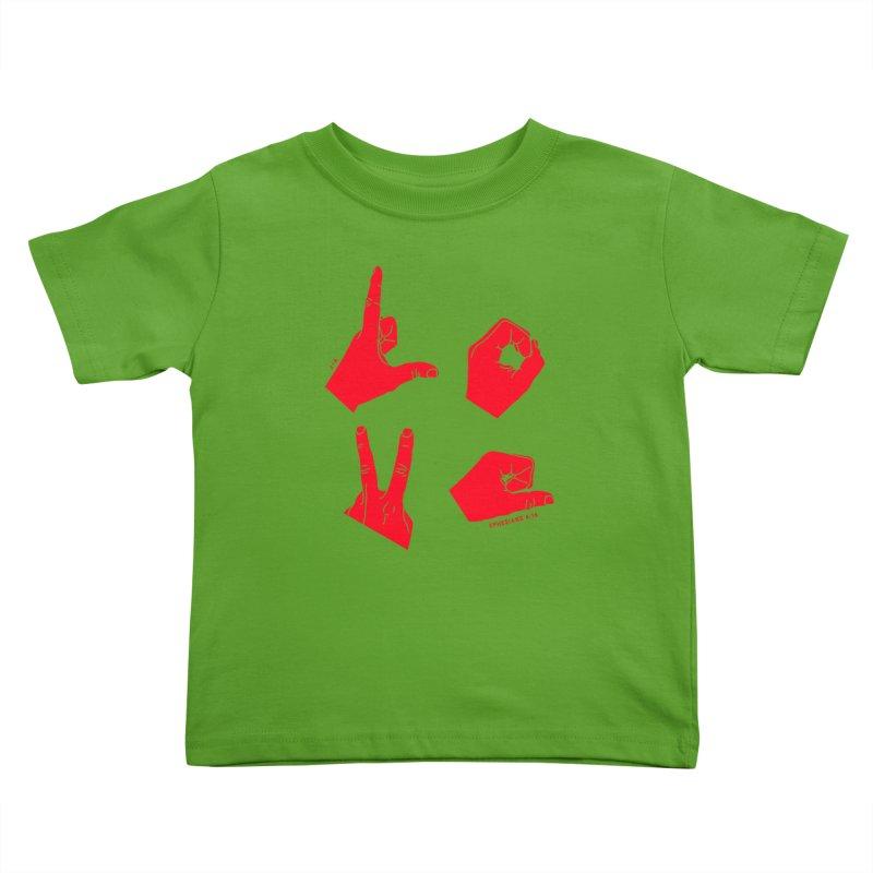 LOVE HANDS (RED) Kids Toddler T-Shirt by Jamus + Adriana
