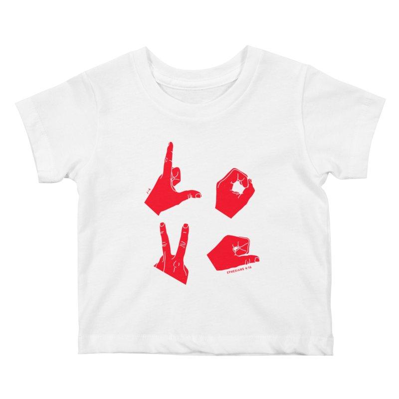 LOVE HANDS (RED) Kids Baby T-Shirt by Jamus + Adriana