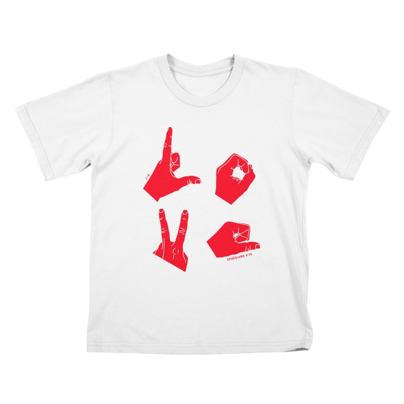 LOVE HANDS (RED) Kids T-Shirt by Jamus + Adriana