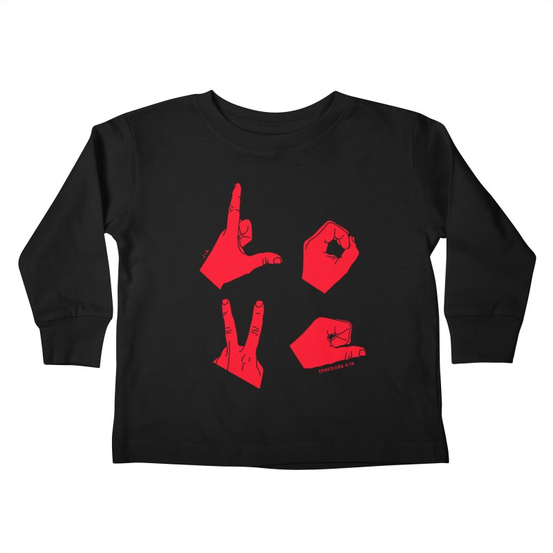 LOVE HANDS (RED) Kids Toddler Longsleeve T-Shirt by Jamus + Adriana