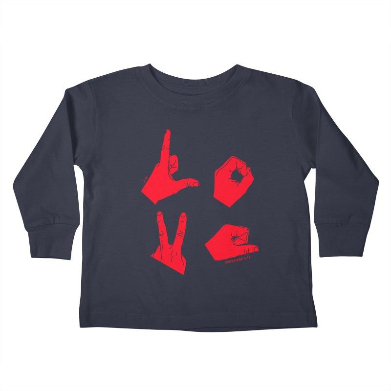 LOVE HANDS (RED) Kids Toddler Longsleeve T-Shirt by Jamus + Adriana