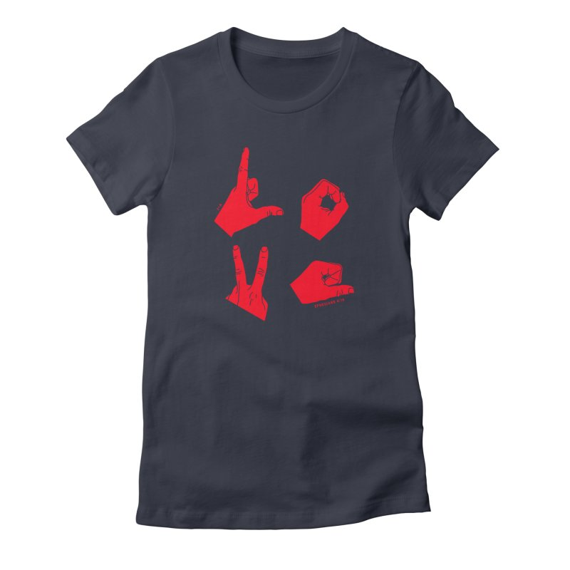 LOVE HANDS (RED) Women's T-Shirt by Jamus + Adriana