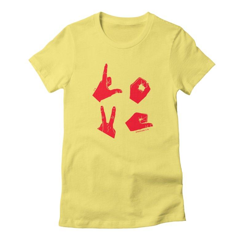 LOVE HANDS (RED) Women's T-Shirt by Jamus + Adriana