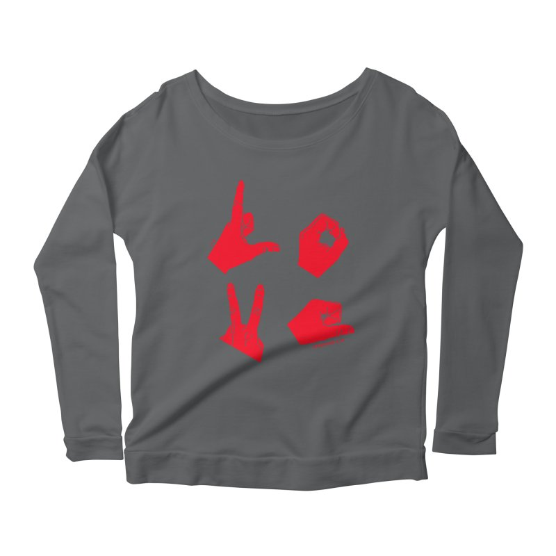LOVE HANDS (RED) Women's Scoop Neck Longsleeve T-Shirt by Jamus + Adriana