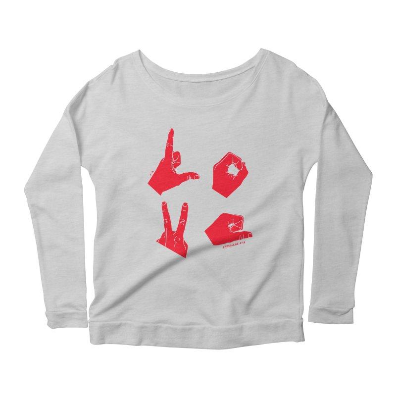 LOVE HANDS (RED) Women's Scoop Neck Longsleeve T-Shirt by Jamus + Adriana