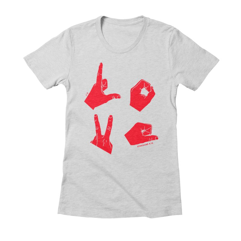 LOVE HANDS (RED) Women's Fitted T-Shirt by Jamus + Adriana