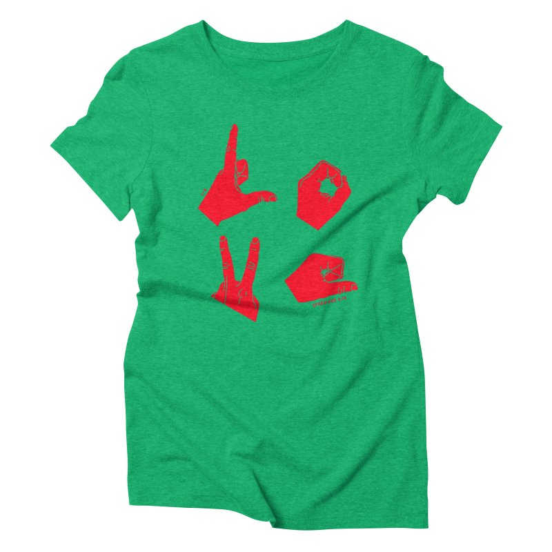 LOVE HANDS (RED) Women's Triblend T-Shirt by Jamus + Adriana