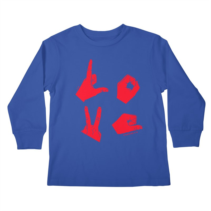 LOVE HANDS (RED) Kids Longsleeve T-Shirt by Jamus + Adriana