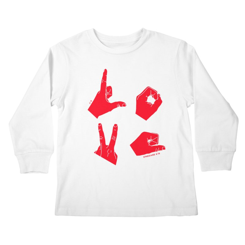 LOVE HANDS (RED) Kids Longsleeve T-Shirt by Jamus + Adriana