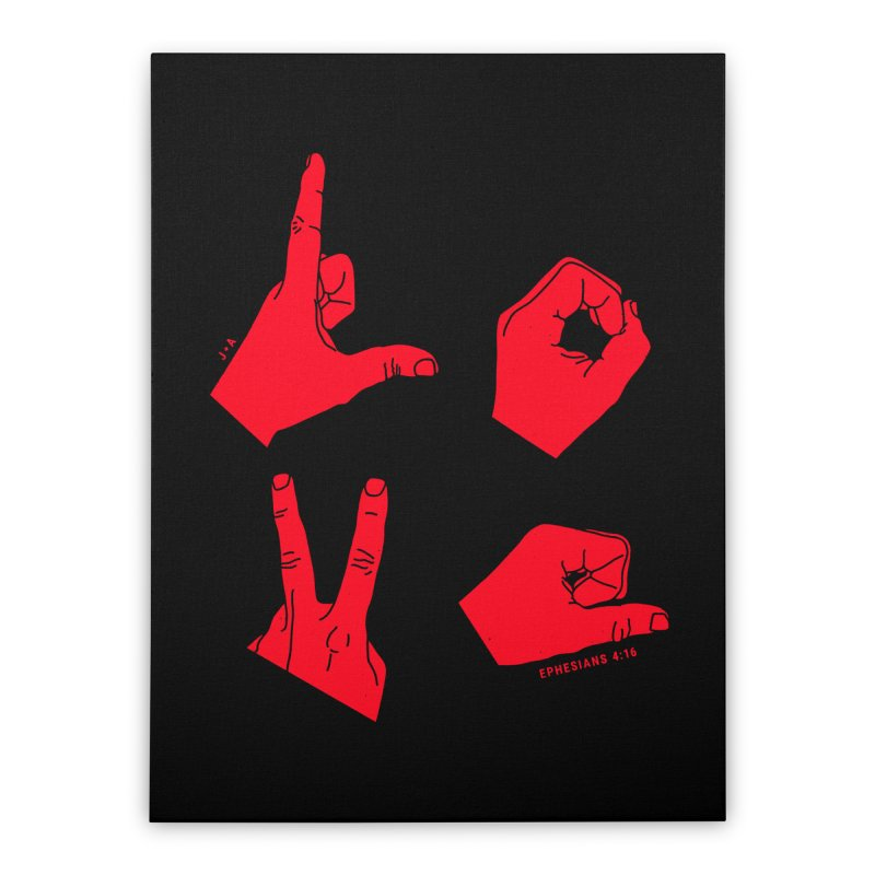 LOVE HANDS (RED) Home Stretched Canvas by Jamus + Adriana