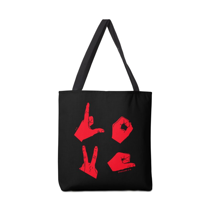 LOVE HANDS (RED) Accessories Bag by Jamus + Adriana