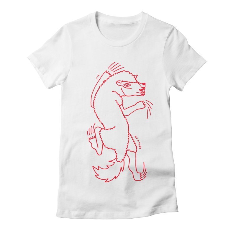 WOLF IN SHEEP'S CLOTHING (RED) Women's Fitted T-Shirt by Jamus + Adriana