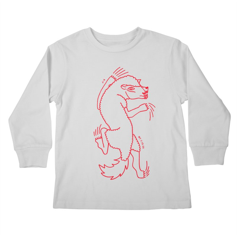 WOLF IN SHEEP'S CLOTHING (RED) Kids Longsleeve T-Shirt by Jamus + Adriana
