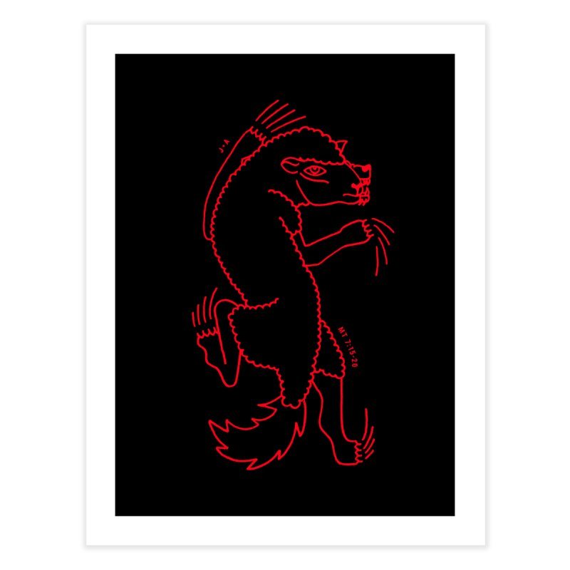 WOLF IN SHEEP'S CLOTHING (RED) Home Fine Art Print by Jamus + Adriana
