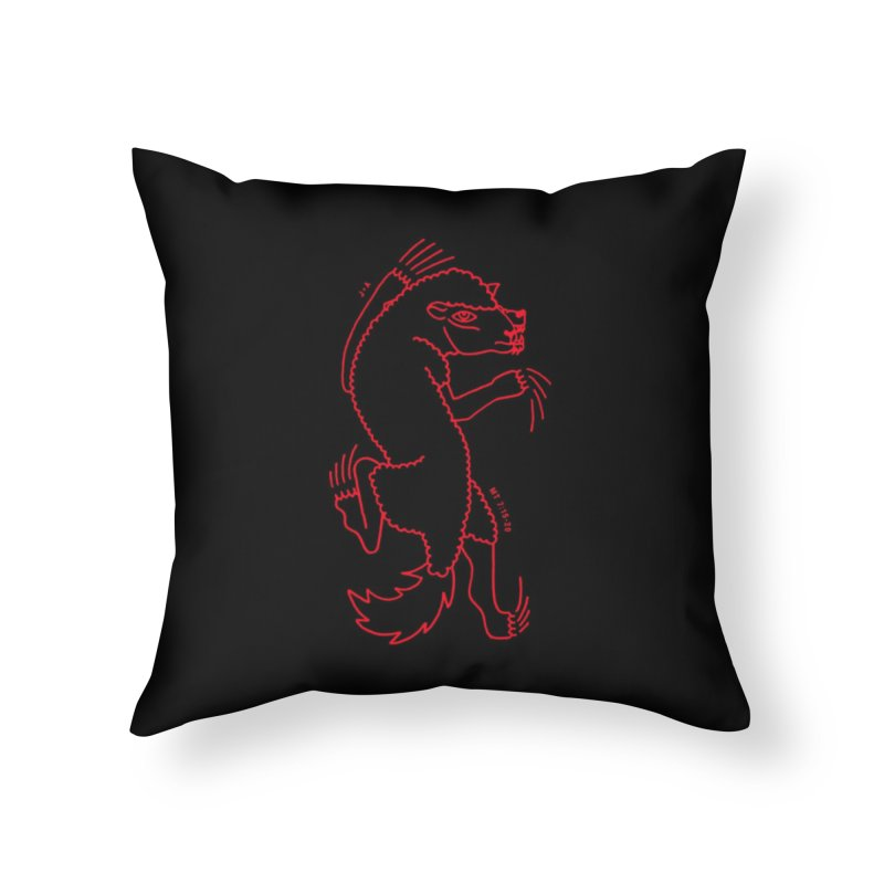 WOLF IN SHEEP'S CLOTHING (RED) Home Throw Pillow by Jamus + Adriana