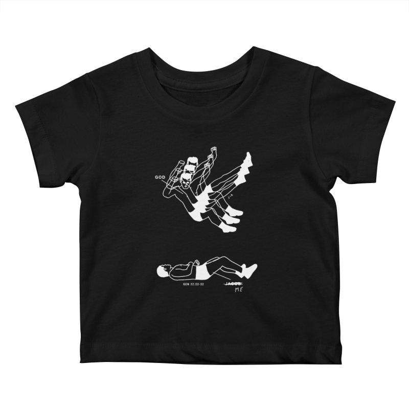 WRESTLING WITH GOD (WHITE) Kids Baby T-Shirt by Jamus + Adriana