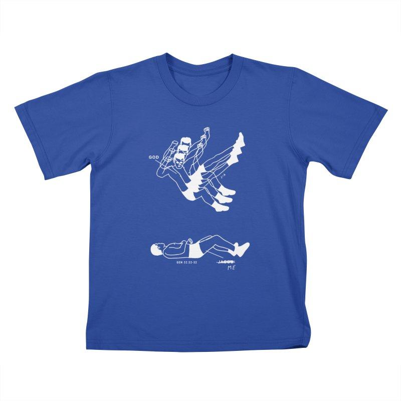 WRESTLING WITH GOD (WHITE) Kids T-Shirt by Jamus + Adriana