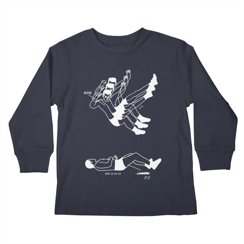 WRESTLING WITH GOD (WHITE) Kids Longsleeve T-Shirt by Jamus + Adriana
