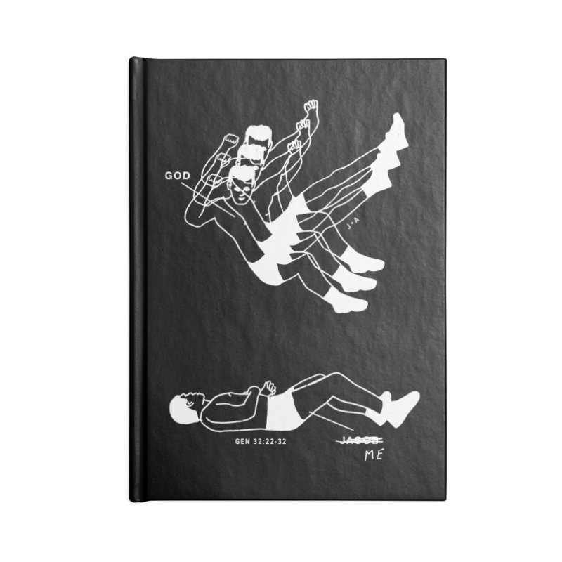 WRESTLING WITH GOD (WHITE) Accessories Blank Journal Notebook by Jamus + Adriana
