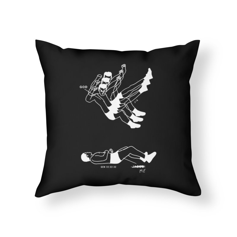 WRESTLING WITH GOD (WHITE) Home Throw Pillow by Jamus + Adriana