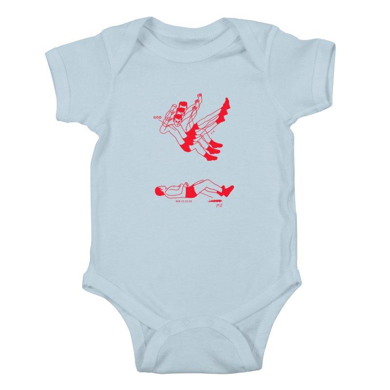 WRESTLING WITH GOD (RED) Kids Baby Bodysuit by Jamus + Adriana